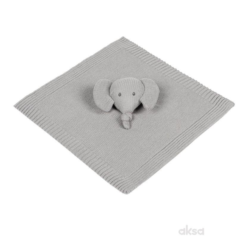 Nattou igračka pleteno ćebe sa likom slončeta, siv