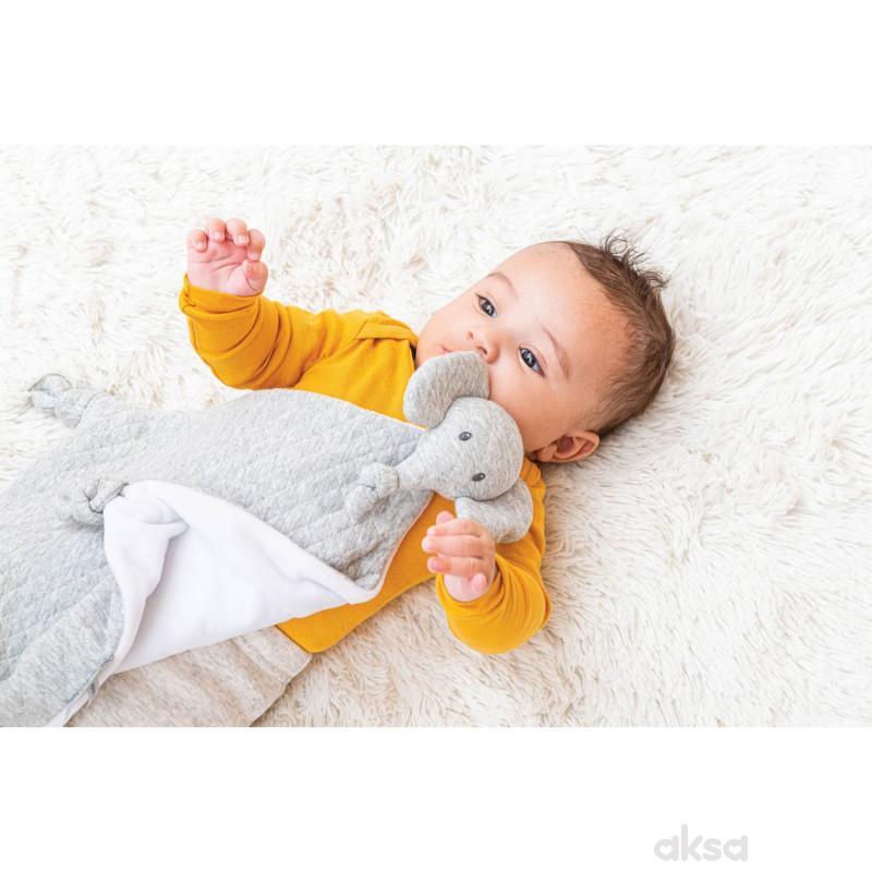 Nattou igračka du du ćebe sa likom slončeta, siva