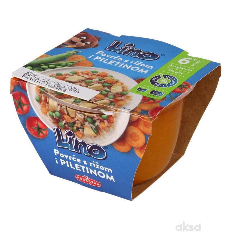 Lino Povrće s rižom i piletinom190g