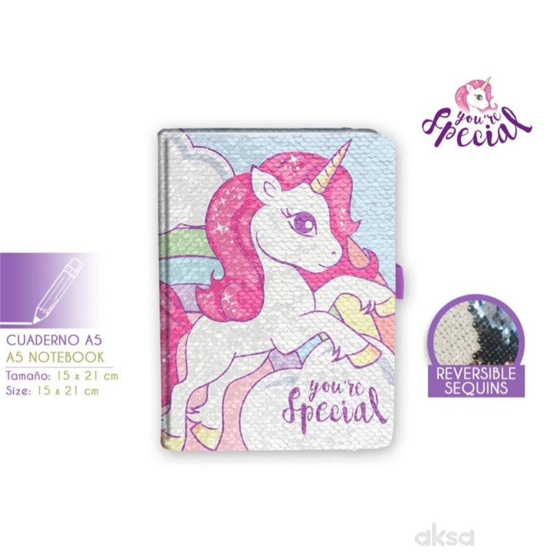 Kids licensing sveska sa šljokicama Unicorn