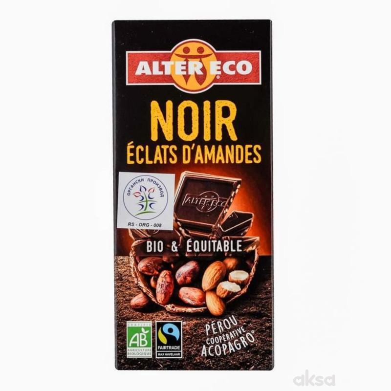 Alter Eco crna čokolada sa komadićima badema 100g