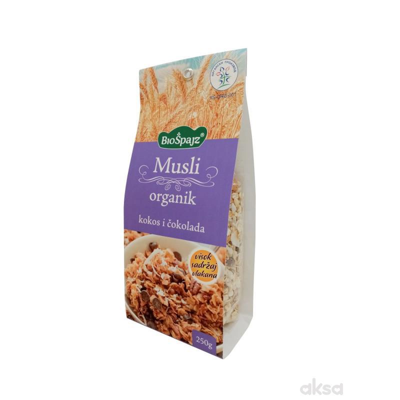 Biošpajz musli organic kokos&čokolada  250g