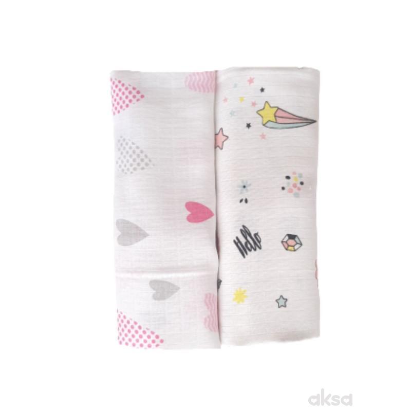 Baby Textil tetra pelena 2u1,muslin,80x90cm