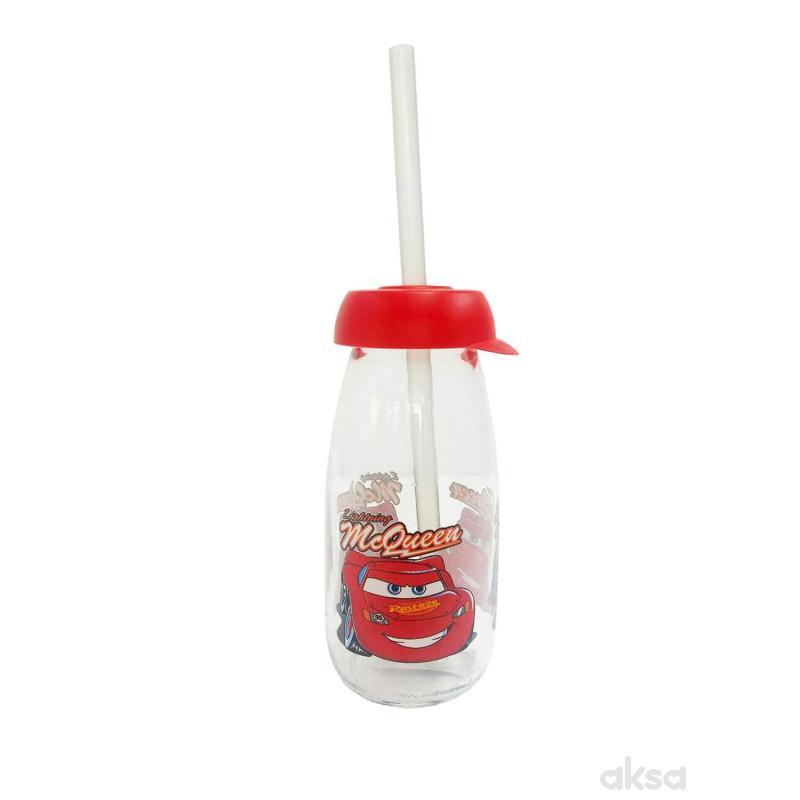 Disney flaša staklena sa slamčicom 500ml