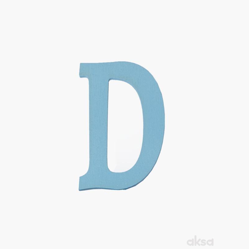 Drveno slovo D plavo