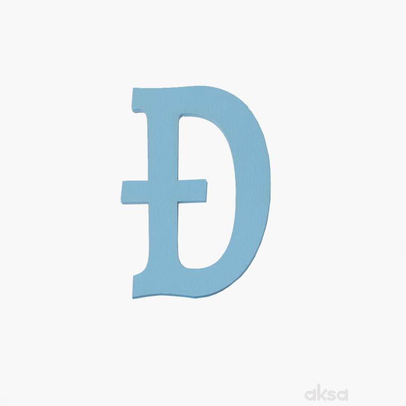 Drveno slovo Đ plavo