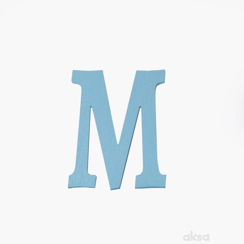 Drveno slovo M plavo