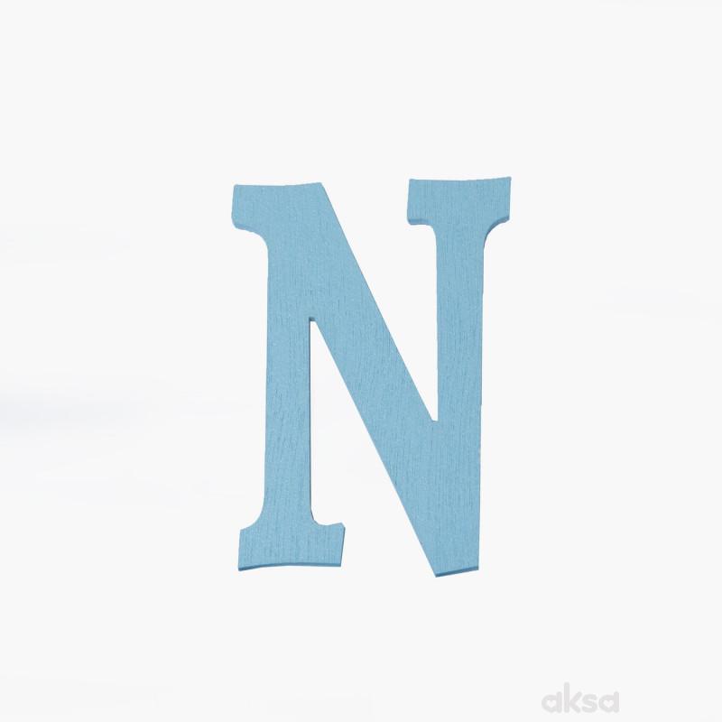 Drveno slovo N plavo