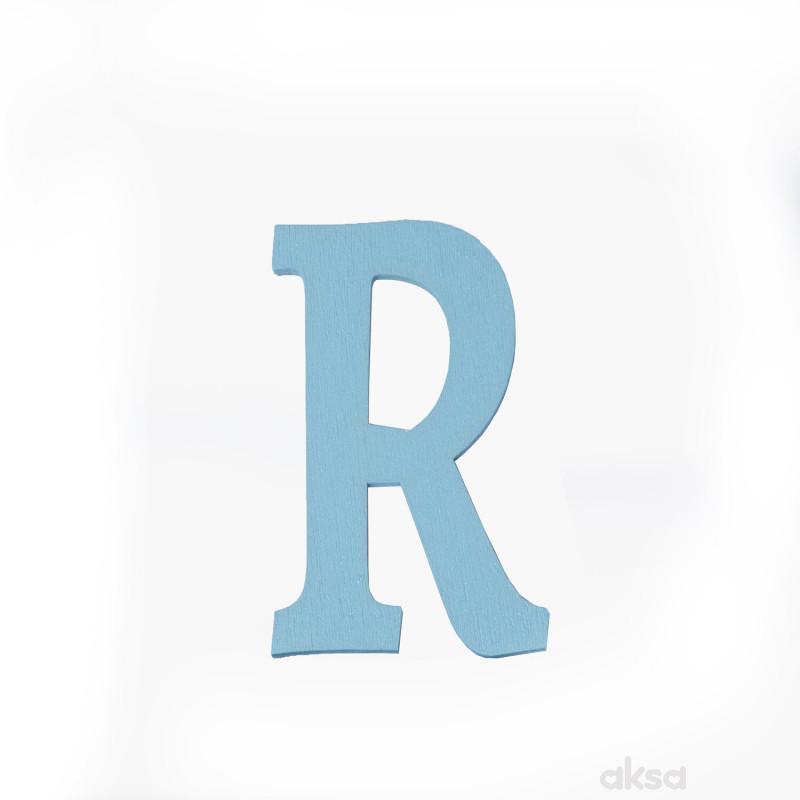 Drveno slovo R plavo