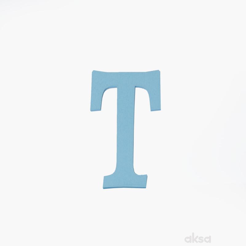 Drveno slovo T plavo
