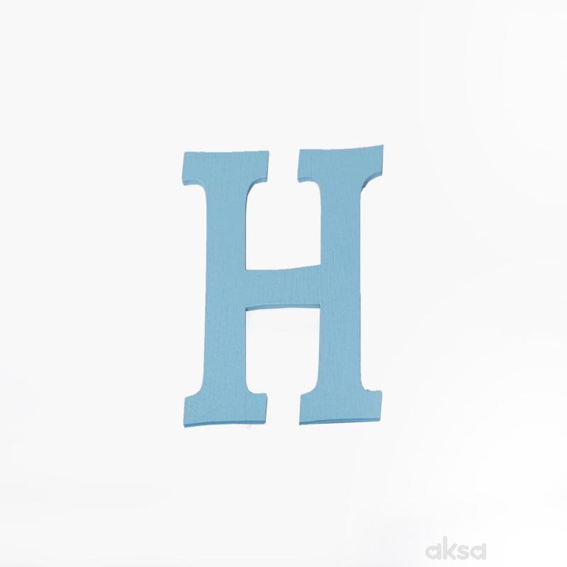 Drveno slovo H plavo