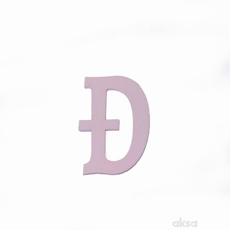 Drveno slovo Đ roze