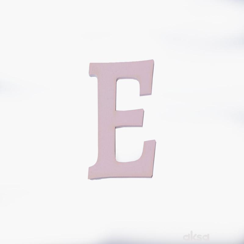 Drveno slovo E roze