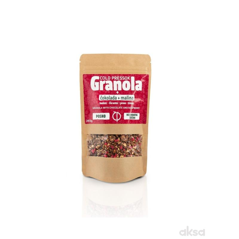 Cold pressok granola čokolada malina 260g