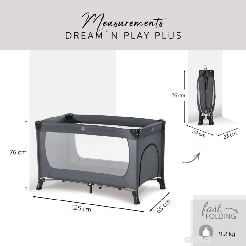 Hauck prenosivi krevetac Dream n play Plus, Grey