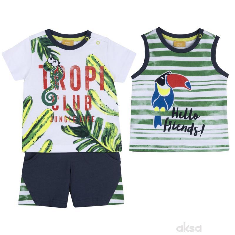 Chicco komplet 3/1 (majica kr,majica,šorts),dečaci