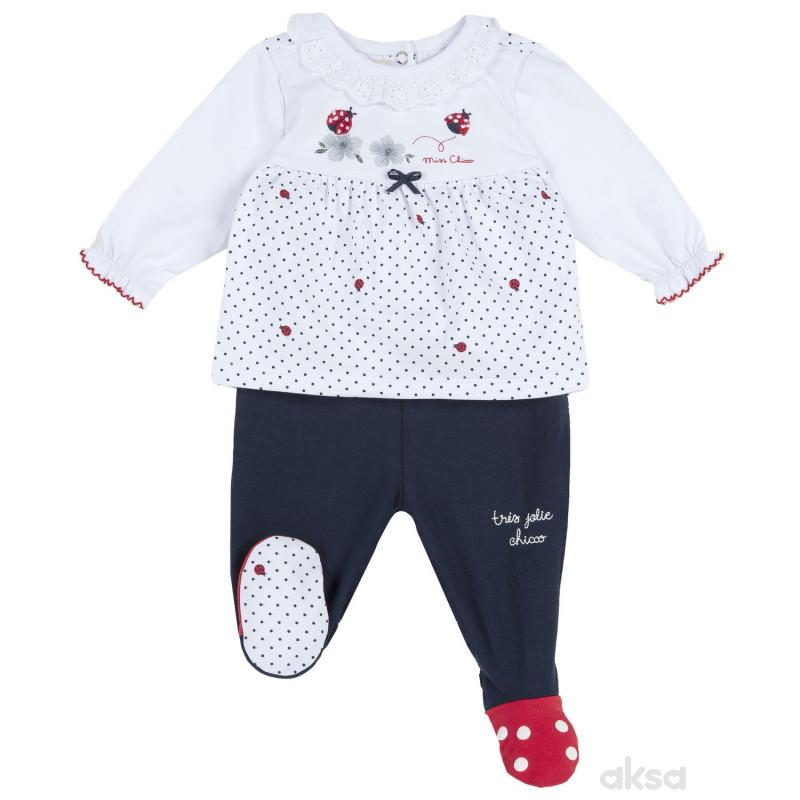 Chicco komplet 2/1(majica dr, pantalone),devojčice
