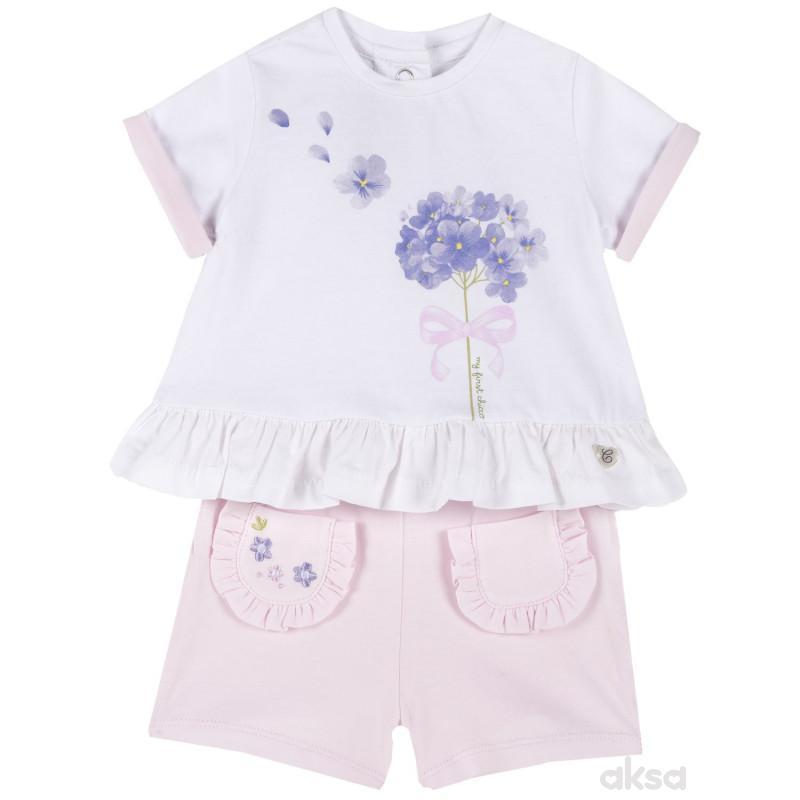 Chicco komplet 2/1(majica kr, šorts), devojčice