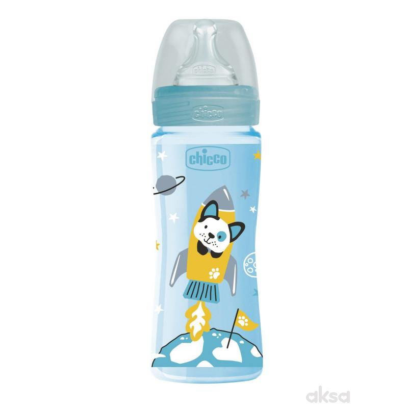 Chicco WB plastična flašica 330ml, silikon, plava