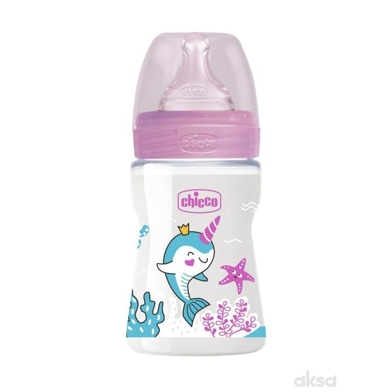 Chicco WB plastična flašica 150ml, silikon, roze