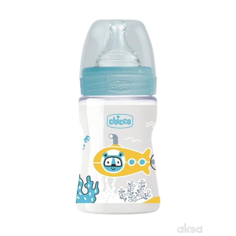 Chicco WB plastična flašica 150ml, silikon, plava