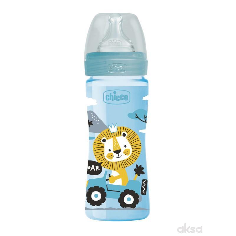 Chicco WB plastična flašica 250ml, silikon, plava