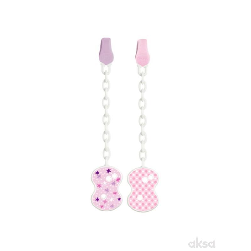 Chicco plastični lančić za lažu, roze