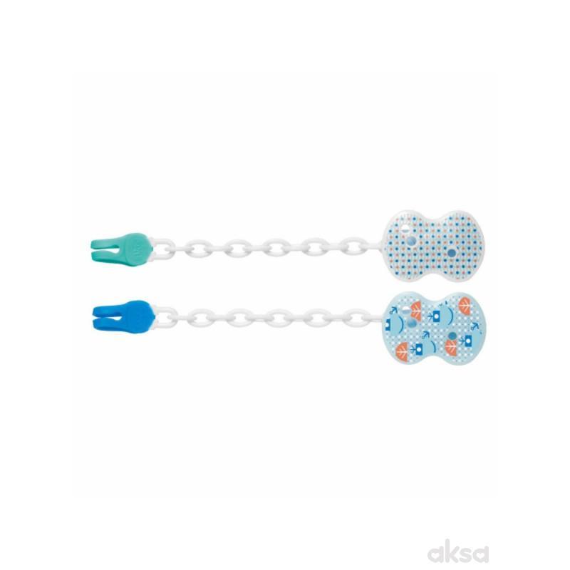 Chicco plastični lančić za lažu, plavi