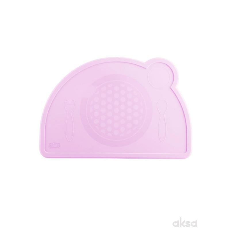 Chicco silikonski tanjir, roze