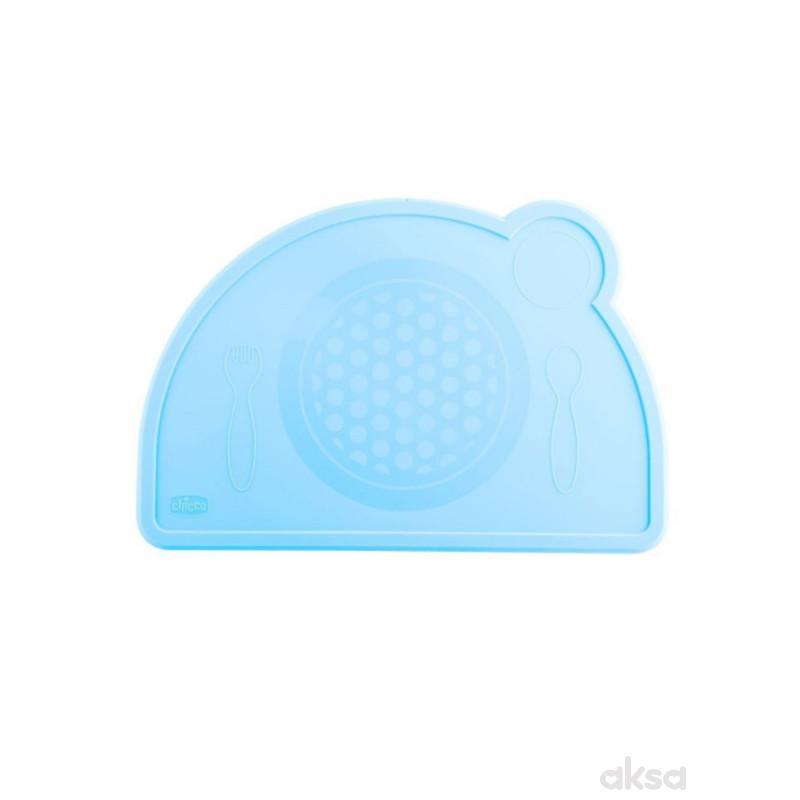 Chicco silikonski tanjir, plavo