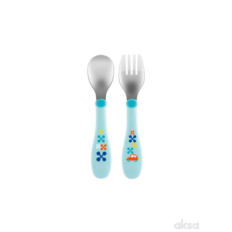 Chicco metalne kašika i viljuška, 18m+, plavi