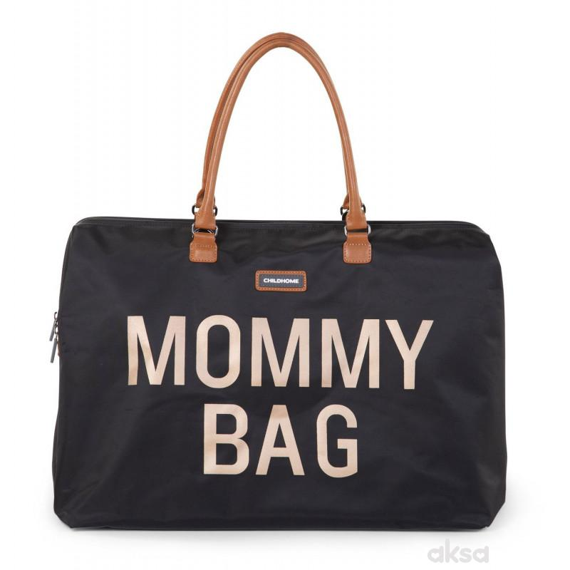 Child home Mommy Bag Big, Ručna torba crno zlatna
