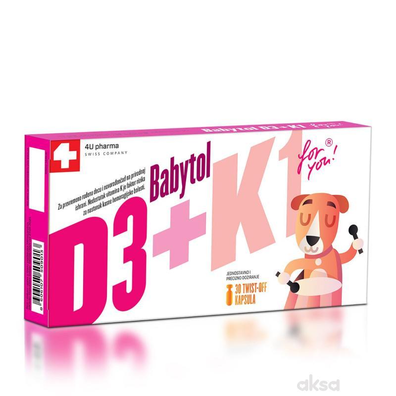 4U Pharma Babytol D3 + K1 twist off, 30 kapsula
