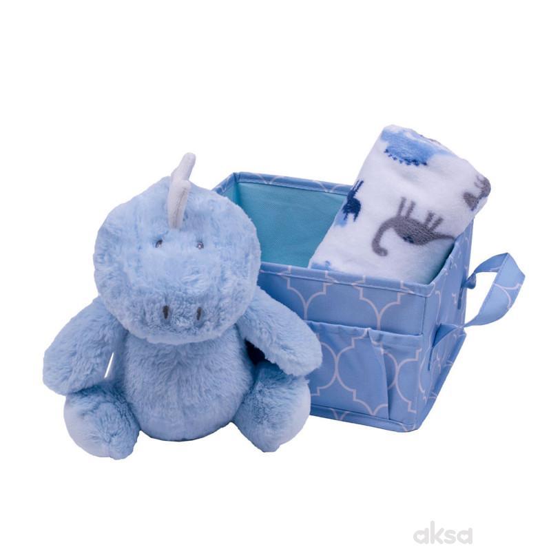 Jungle ćebe sa igračkom u korpi, plava