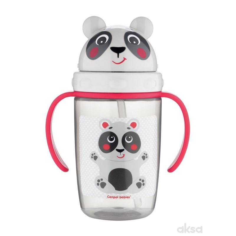 Canpol baby šolja sa slamčicom panda 400ml, 9m+